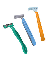 Vector image of three razors, isolated on white background
