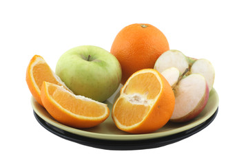 fruit plate with oranges and apples