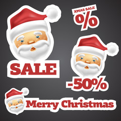 Santa Claus Discount Sale Stickers isolated on grey background