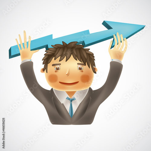 Successful business concept, funny businessman holding arrow