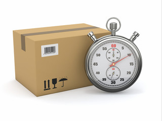 Express delivery. Stopwatch and package