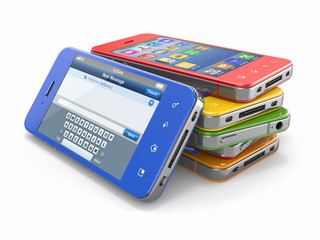 Mobile phones with touchscreen.