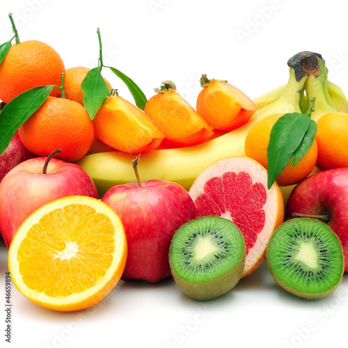 collection fruit isolated on white background