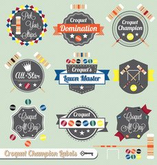 Vector Set: Croquet Champion Labels and Icons