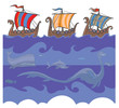 Sea background with Viking ships and sea creatures.