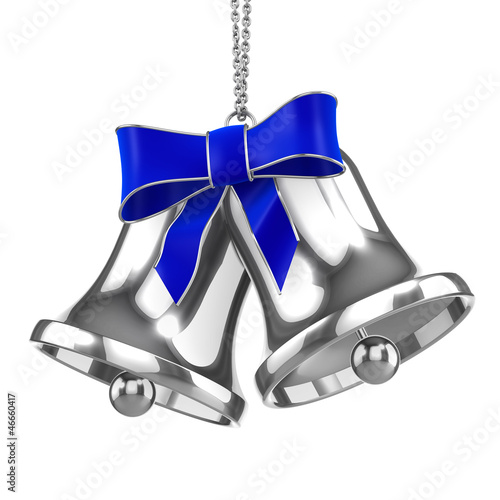 3d Silver Christmas Bells with blue bow