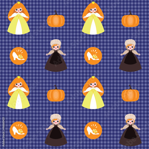 Checked pattern with Cinderella, pumpkin and shoe