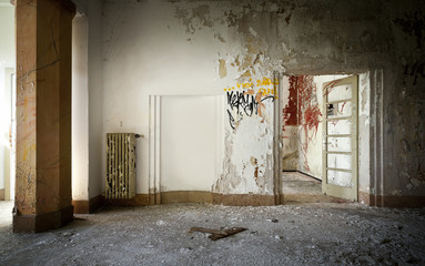 old abandoned building, interior