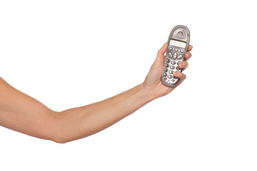 Woman with retro mobile phone