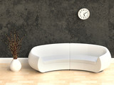 3D Modern Interior with White Sofa