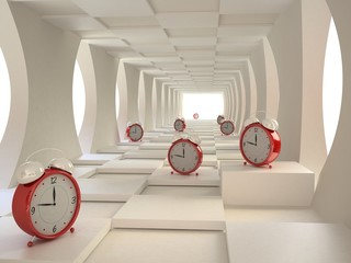 Time Concept  with Alarm Clocks in 3D