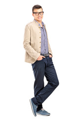 Full length portrait of a young fashionable male posing
