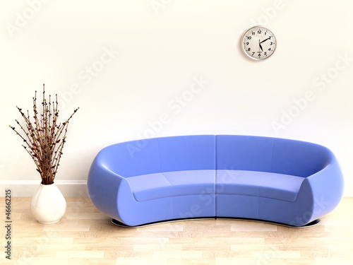 3D  Interior wth Blue Sofa