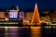 Christmas tree in Stockholm City at night.