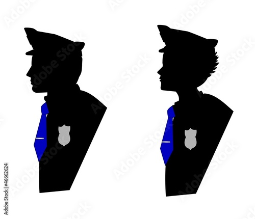 male and female police officers in silhouette