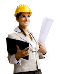 smiling engineer with helmet and blueprints