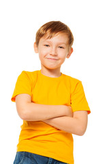 Confident kid in yellow t-shirt