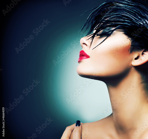 Fashion Art Portrait Of Beautiful Girl. Vogue Style Woman