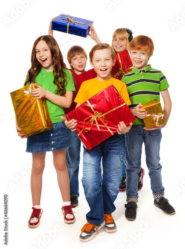 boys and girls with Christmas gifts