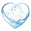 Valentine heart made of blue water splash isolated on white back