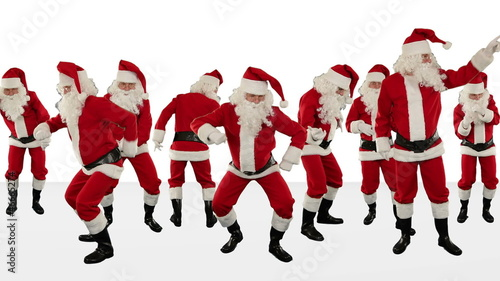 Bunch of Santa Claus Dancing, Christmas Holiday, Alpha Matte