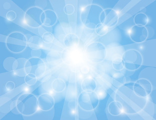 Sun Rays with Sky Blue Background