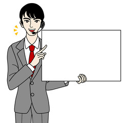 Male operator with Whiteboard -speak-