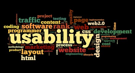 Web usability concept in tag cloud on black