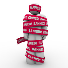 Banned Man Person Wrapped Red Tape Forbidden Suppression