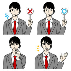 Male Operator Various expressions,Judgment,Guide