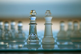 Chess King Piece - business concept - merger, contacts. poster