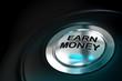 earn money text written onto a metal button