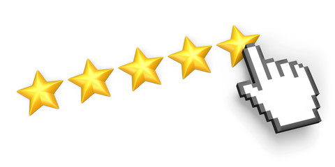 Five stars rating. Hand cursor.