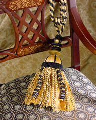 great design of fabric and tassel on the asian style chair