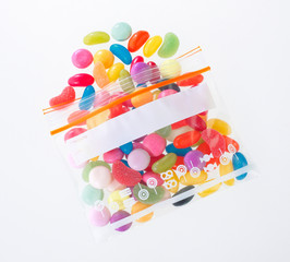 colorful candy in the zipper bag