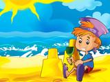 Cartoon play on the beach