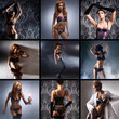 A collage of young and sexy women posing in erotic lingerie