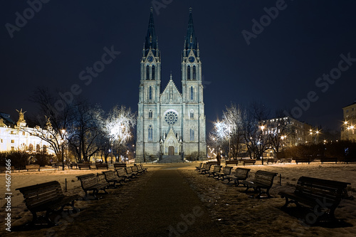 Saint Ludmila Church in Prague at night, Czech Republic