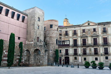 Roman Wall at the Gothic Quarter in Barcelona