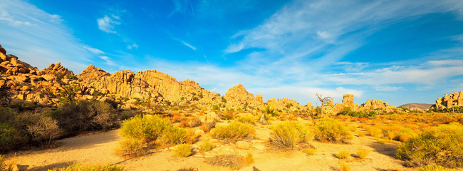 Hidden Valley in Joshua Tree National Park, USA. Sunset.