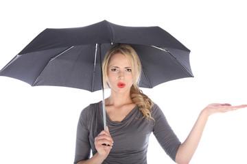 Unhappy Woman with Umbrella Checking for Rain