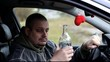 Depressed man to drinking alcohol in car