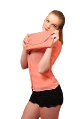 Pretty girl holding her handbag