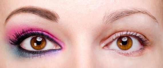 Woman with and without eye makeup