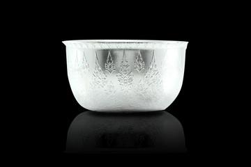 Traditional Thai sliver Bowl on black background