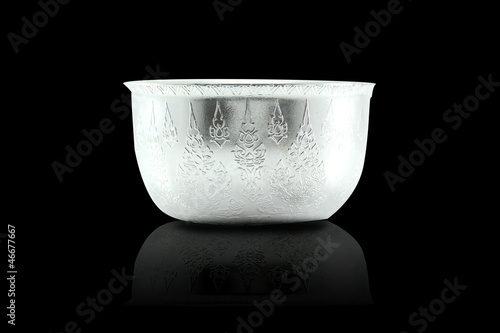 Traditional Thai sliver Bowl on black background