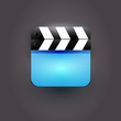 User interface clapboard Icon with blue screen