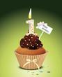 Cupcake mit Geburtstagskerze die Zahl 1