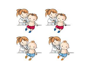 病院で子供が診察と注射を受ける
