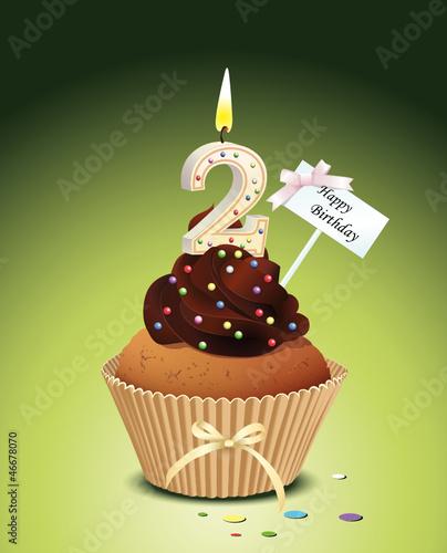 Cupcake mit Geburtstagskerze die Zahl 2